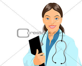 Affable doctor with tablet