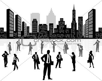 Business team on city background