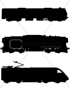Three trains silhouettes