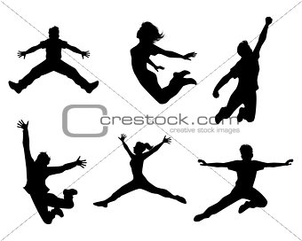 Six jumping teenagers