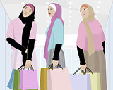 Muslim girls shopping