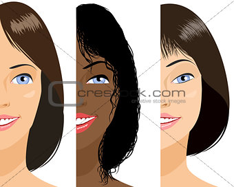 Three girls faces