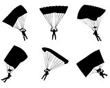 Six parachutists silhouettes
