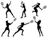 Six tennis players silhouettes