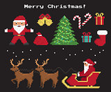 Pixel christmas symbols set