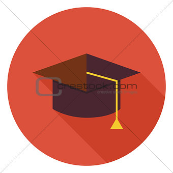 Flat Education Graduate Hat Circle Icon with Long Shadow