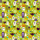 Flat Halloween Holiday Elements Seamless Pattern