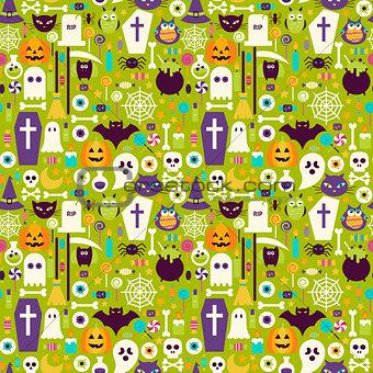 Flat Halloween Holiday Elements Seamless Pattern