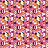Flat Halloween Holiday Items Seamless Pattern