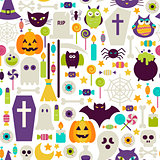 Flat Halloween Holiday Objects Seamless Pattern