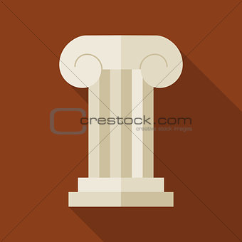 Flat History Ancient Ionic Pillar Illustration with long Shadow