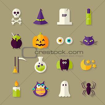 Flat Magic Halloween Witch Objects Set with Shadow