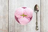 Top view strawberry ice cream
