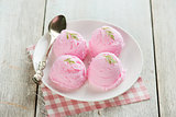 Strawberry ice cream on plate
