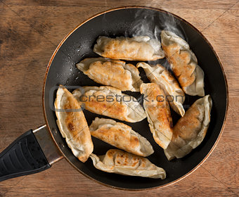 Asian dish fried dumpling in cooking pan