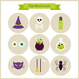 Flat Magic Witch Icons Set