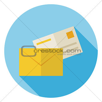 Flat Mail Envelope with Post Letter Circle Icon with Long Shadow