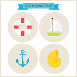 Flat Marine Website Icons Set
