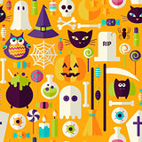 Flat Orange Halloween Trick or Treat Objects Seamless Pattern