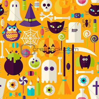 Flat Orange Halloween Trick or Treat Objects Seamless Pattern