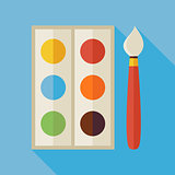 Flat Palette with Colorful Paints and Paintbrush Illustration wi
