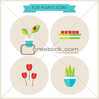 Flat Plants Website Icons Set