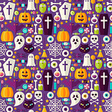 Flat Purple Halloween Party Seamless Pattern