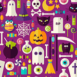 Flat Purple Halloween Trick or Treat Objects Seamless Pattern