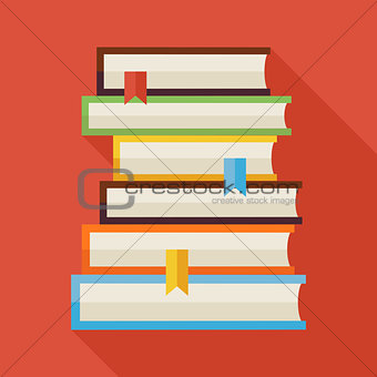 Flat Reading Books Knowledge Illustration with Shadow