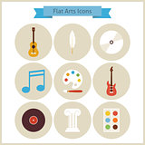 Flat School Arts and Music Icons Set