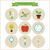 Flat School Biology and Science Icons Set