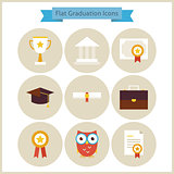 Flat School Graduation and Success Icons Set
