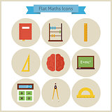 Flat School Maths and Physics Icons Set