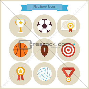 Flat Sport and Competition Winning Icons Set
