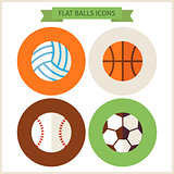 Flat Sport Balls Website Icons Set