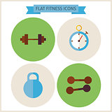 Flat Sport Fitness Website Icons Set