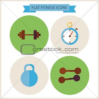 Flat Sport Fitness Website Icons Set