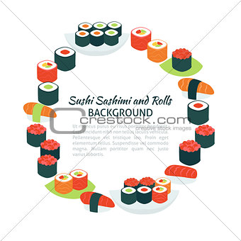 Flat Style Vector Circle Template Collection of Food Sushi Sashi