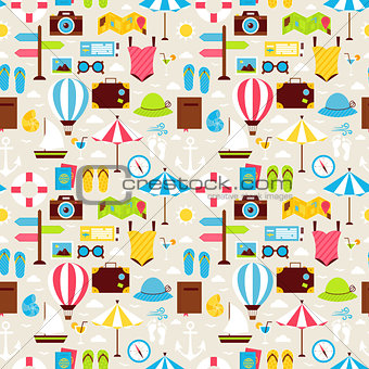 Flat Summer Beach Vacation Holiday Seamless Pattern
