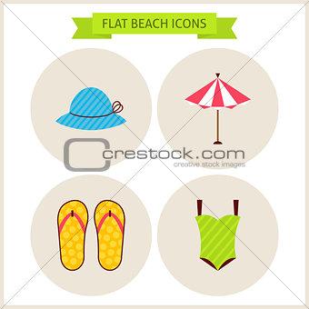 Flat Summer Beach Website Icons Set