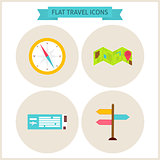 Flat Travel Website Icons Set