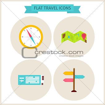 Flat Travel Website Icons Set