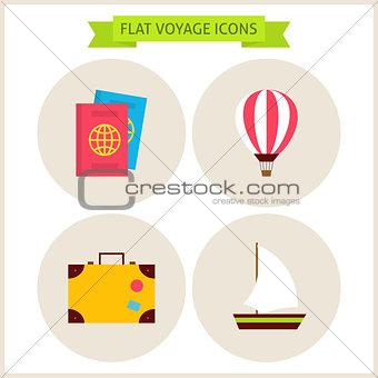 Flat Voyage Website Icons Set