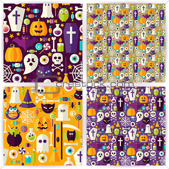 Four Vector Flat Seamless Halloween Party Patterns Collection