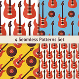 Four Vector Flat Seamless Music Instrument Rock Guitar Patterns