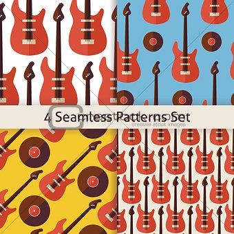Four Vector Flat Seamless Music Instrument Rock Guitar Patterns