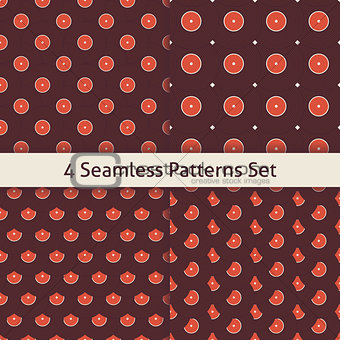 Four Vector Flat Seamless Music Vinyl Disc Patterns Set