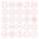 Line Circle Website and Mobile User Interface Icons Set