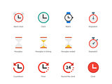Time and Clock color icons on white background.
