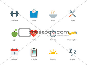 Fitness and Sport color icons on white background.